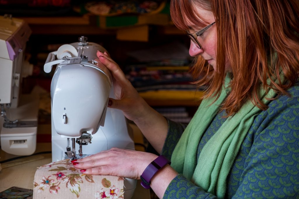 Hannah sewing